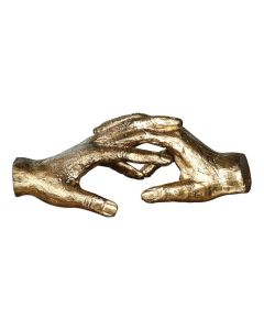 Cast Iron Holding Hands Sculpture Finished with Gold Leaf