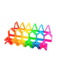 Children's Set of 18 Neon Silicone Houses, Trees and People