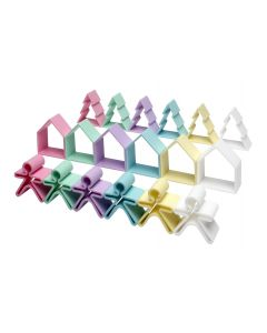 Children's Set of 18 Pastel Silicone Houses, Trees and People