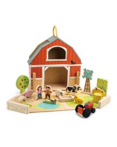Classic Wooden Barnyard Playset With Farm Animals for Kids