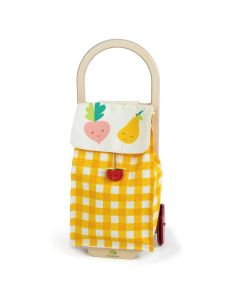 Yellow Gingham Pull Along Grocery Shopping Trolley for Kids