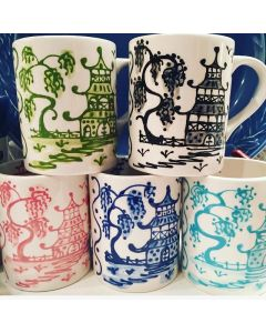 Set of Four Hand Painted Chinoiserie Coffee Mugs
