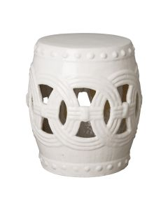 Circle Linked Garden Stool with White Glaze - ON BACKORDER UNTIL JULY 2021