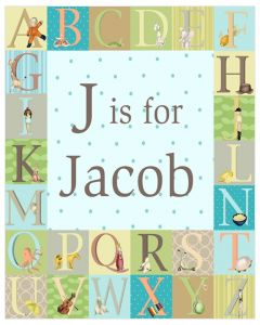 Blue and Green Alphabet Inspired Personalized Wall Art for Kids