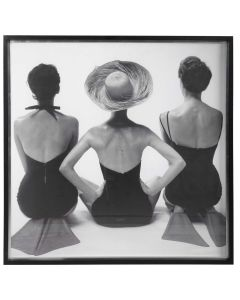 Classic Black and White Photography Vintage Swimwear Framed Print