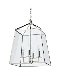 Classic Polished Nickel and Glass 4 Light Lantern - ON BACKORDER UNTIL AUGUST 2021