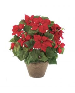 Classic Red Holiday Faux Poinsettia in a Terracotta Redstone Pot