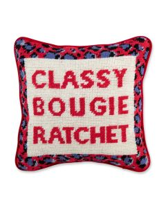 Classy Bougie Ratchet Quote Needlepoint Pillow - ON BACKORDER UNTIL MID OCTOBER 2021