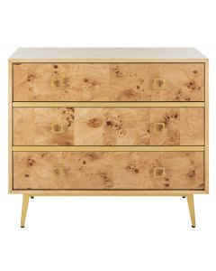 Contemporary 3 Drawer Chest in Burl Wood