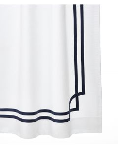 Corte Classic Appliqued Fretwork Sateen Tape Shower Curtain - Available in a Variety of Tape Colors & Sizes