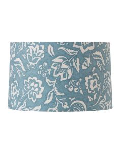 Cottage Blue Drum Lamp Shade with White Floral Design