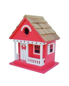 Cottage Birdhouse with Crab Design in Red - OUT OF STOCK