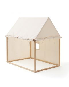 Cotton and Wood Playhouse with Roll Up Doors for Kids