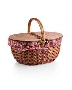 Classic French Country Picnic Basket - Available in Three Styles (RED GINGHAM ON BACKORDER)