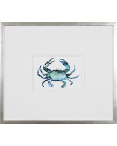 Blue Crab Lithograph Wall Art in Silver Frame