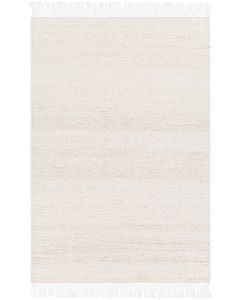 Cream Jute and Recycled PET Hand Woven Rug with Fringe, Available in a Variety of Sizes