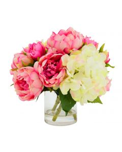 Faux Cream and Pink Hydrangea Peony Arrangement in Glass Vase