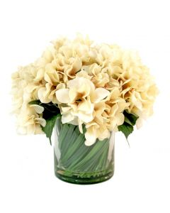 Faux Cream Hydrangea in Grass Embellished Glass Container