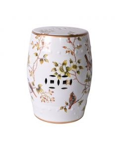Cream Porcelain Garden Stool With Flowers and Birds - ON BACKORDER UNTIL JULY 2021