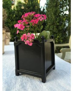 Set of Two Crossette Indoor Tabletop Garden Planters in Wood with Round Finials – Available in Two Sizes and Can be Customized