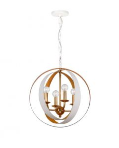 Four Light White and Gold Sphere Mini Chandelier