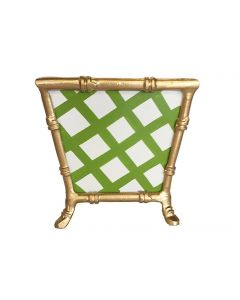 Green Lattice Bamboo Cachepot - ON BACKORDER UNTIL LATE AUGUST 2021
