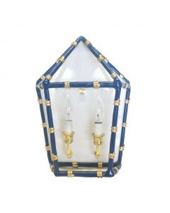 Navy Bamboo Two Light Wall Sconce