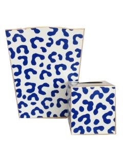Navy Leopard Print Ocelot Wastebasket with Optional Tissue Box Cover