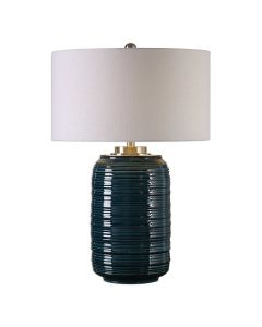 Dark Teal Glazed and Ribbed Table Lamp