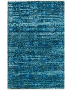 Deep Teal Floral Wool Rug, Available in a Variety of Sizes