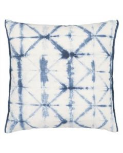 Set of Two Tie Dye Inky Cobalt Blue Decorative Outdoor Square Throw Pillows