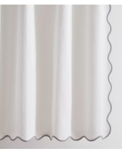 Devon Scalloped Tape Trim Shower Curtain - Available in a Variety of Trim Colors and Sizes
