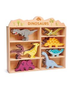 Dinosaur Animals Wooden Toy Set with Display Shelf for Kids