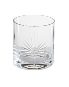 Double Old-Fashioned Etched Glass With Palm Design