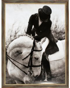 Black & White Horse and Rider Dressage Wall Art in Gold Accent Frame