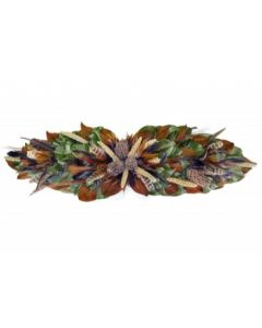 Dried Magnolia Leaf Centerpiece With Colorful Turkey & Pheasant Feathers