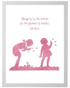 E.B. White Quote Children's Wall Art in Pink With Size and Framing Options