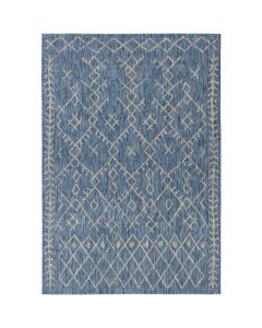 Indoor/Outdoor Geometric Design Rug in Blue and Grey - Available in a Variety of Sizes