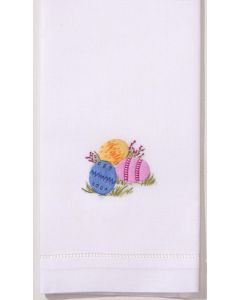 Set of 2 Easter Eggs Hand Towels in White Cotton