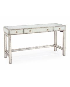 Three Drawer Vanity Console Table in Antique Silver Leaf Finish - ON BACKORDER UNTIL JUNE 2021