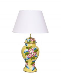 Elise Floral Tole Table Lamp in Yellow