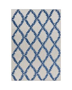 Emma Blue and Taupe Vine Diamond Trellis Indoor/Outdoor Area Rug - Available in a Variety of Sizes
