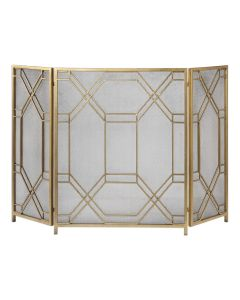 Lightly Antiqued Gold Leaf Forged Iron Fireplace Screen