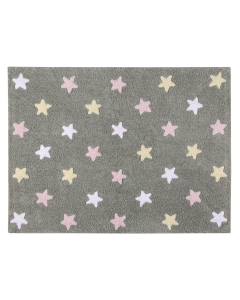 Washable Grey Children's Rug with Multi-Colored Stars