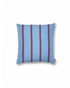 Faded Blue With Burgundy Stripes Decorative Throw Pillow