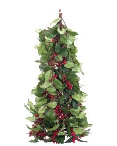 Faux Holly Berry Holiday Topiary