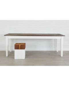 Reclaimed Wood Distressed Antique Farmhouse Table in Saddle and White - Available in 4 Sizes - BACKORDERED UNTIL MARCH 2021