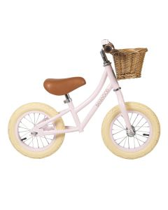 Vintage Style Toddler Balance Bike With Basket in Pink - Optional Matching Bike Helmet Available - LOW STOCK