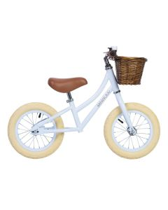 Vintage Style Toddler Balance Bike With Basket in Sky Blue - Optional Matching Bike Helmet Available - LOW STOCK