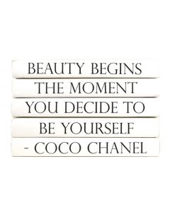 """""""Beauty Begins The Moment You Decide To Be Yourself"""" Five Volume Coco Chanel Quote Set of Decorative Books"""